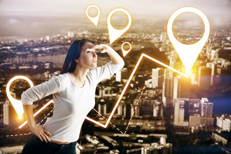 navigator: Side view of european woman looking into the distance on abstract night city background with glowing map pointers. Destination concept Stock Photo