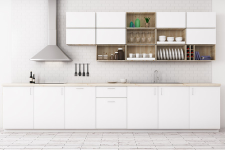 Front view of modern white kitchen interior with wooden floor, furniture and equipment. 3D Rendering Фото со стока