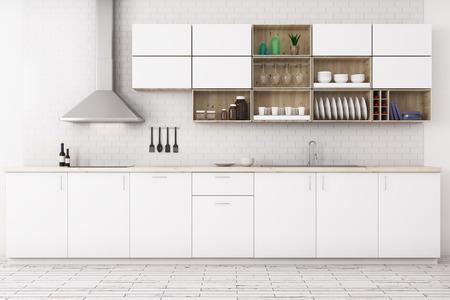 Vista frontale della moderna cucina bianca interna con pavimento in legno, mobili e attrezzature. Rendering 3D Archivio Fotografico - 87302187