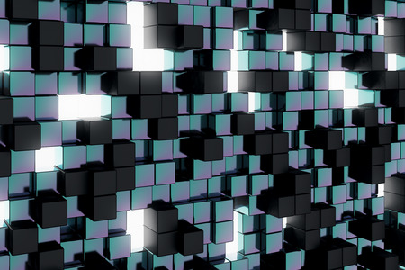 technology background: Abstract dark cube background. Geometry, design concept. 3D Rendering