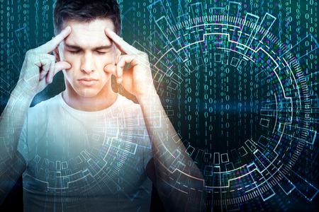 Pensive young businessman on abstract blue background with binary code stream. Science concept. Double exposure