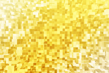 technology background: Abstract yellow hyper cube wallpaper. 3D Rendering