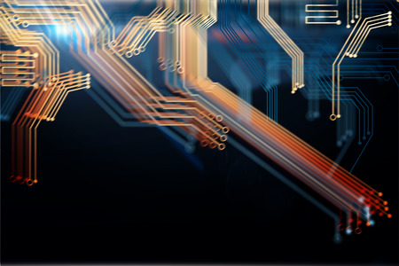 technology background: Abstract digital blurry motherboard background. Technology and computer hardware concept. 3D Rendering