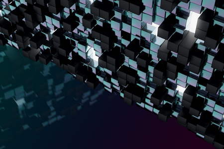 technology background: Abstract dark cube wallpaper. Geometry, design concept. 3D Rendering Stock Photo