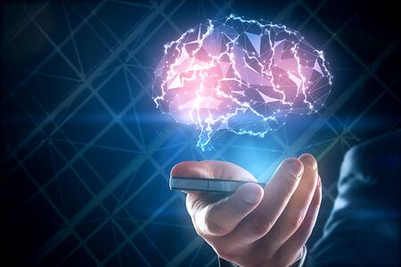technology background: Hands holding smartphone with abstract polygonal brain hologram. Artificial intelligence and network concept. 3D Rendering Stock Photo