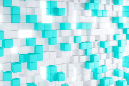 technology background: Abstract light blue cube background. Geometry, design concept. 3D Rendering Stock Photo