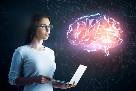 technology background: Side view of attractive european woman with laptop standing on blurry dark background with glowing digital brain. Science and communication concept. 3D Rendering
