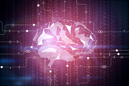 technology background: Abstract digital polygonal brain on circuit backdrop. Artificial intelligence and innovation concept. 3D Rendering