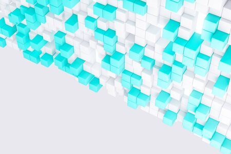 technology background: Abstract light blue cube wallpaper. Geometry, design concept. 3D Rendering