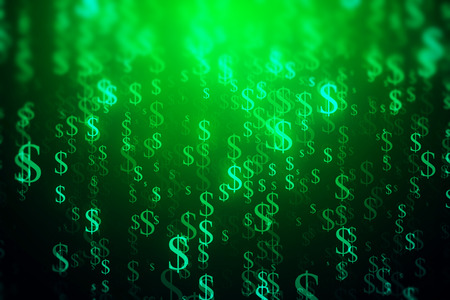technology background: Abstract green dollar sign stream backdrop. Digital money concept. 3D Rendering