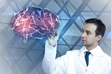 technology background: Thoughtful young male doctor drawing digital polygonal brain on blurry background. Medicine and innovation concept. 3D Rendering Stock Photo