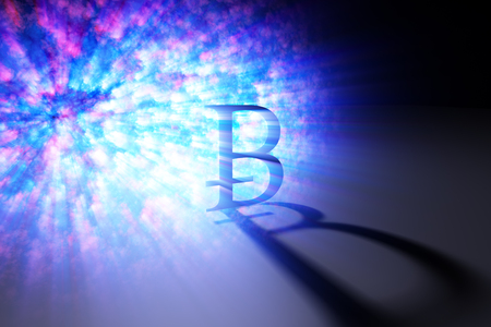 Abstract glowing bitcoin background with shadow. E-commerce concept