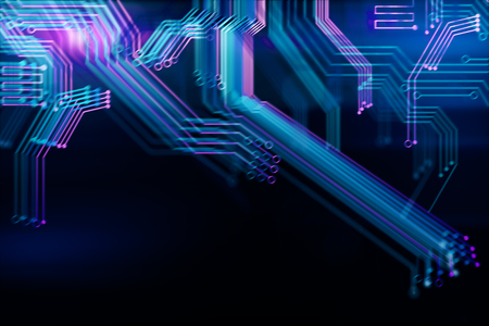 technology background: Abstract digital blurry motherboard wallpaper. Technology and computer hardware concept. 3D Rendering