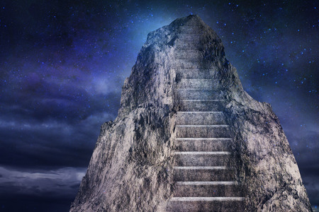 Abstract mountain with stairs on dark sky background. Leadership concept