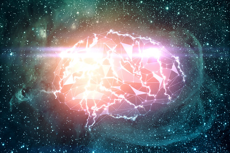 technology background: Abstract digital polygonal brain on space backdrop. Artificial intelligence and innovation concept. 3D Rendering