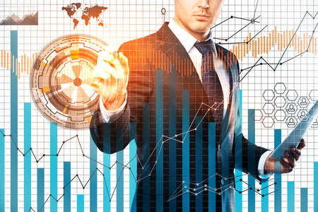Businessman drawing digital business chart on white grid background. Forex concept. Double exposure 스톡 콘텐츠