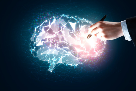 technology background: Hand drawing digital glowing polygonal brain on dark blue background. Artificial intelligence and knowledge concept. 3D Rendering
