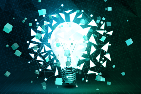 technology background: Abstract polygonal lamp background. Idea and innovation concept. 3D Rendering