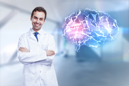 technology background: Smiling young male doctor standing in blurry interior with glowing digital brain. Medicine concept. 3D Rendering