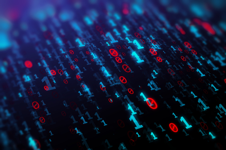 technology background: Abstract blue binary code background. Programming, coding, hacker, matrix concept. 3D Rendering
