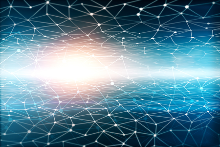technology background: Abstract glowing polygonal mesh on space background. 3D Rendering. Stock Photo