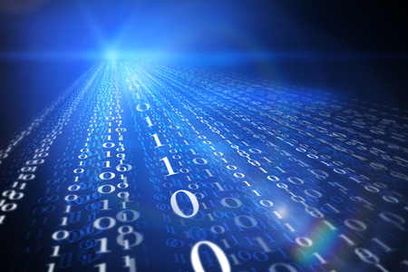 technology background: Streaming binary code background. Data and technology, decryption and encryption, computer background numbers 1,0. Coding or hacker concept