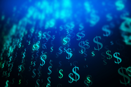 technology background: Abstract blue dollar sign stream background. Digital money concept. 3D Rendering Stock Photo