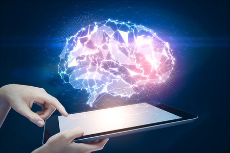 technology background: Hands holding tablet with abstract polygonal brain hologram. Artificial intelligence and science concept. 3D Rendering
