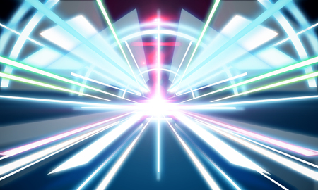 technology background: Abstract futuristic tunnel wallpaper. Technology and innovation concept. 3D Rendering