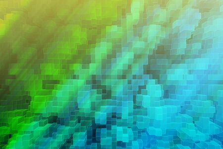 technology background: Abstract green hyper cube backdrop. 3D Rendering Stock Photo