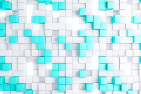 technology background: Abstract light blue cube backdrop. Geometry, design concept. 3D Rendering