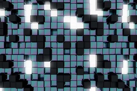 technology background: Abstract dark cube backdrop. Geometry, design concept. 3D Rendering
