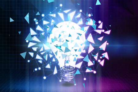 technology background: Abstract polygonal lamp background. Idea concept. 3D Rendering