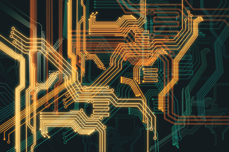 technology background: Abstract digital circuit backdrop. Technology and computer hardware concept. 3D Rendering