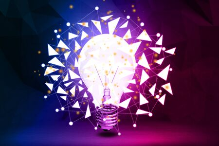 technology background: Abstract polygonal lamp background. Innovation concept. 3D Rendering Stock Photo