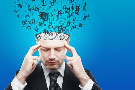 Abstract image of pensive young businessman with abstract binary code stream on blue background. Computing concept