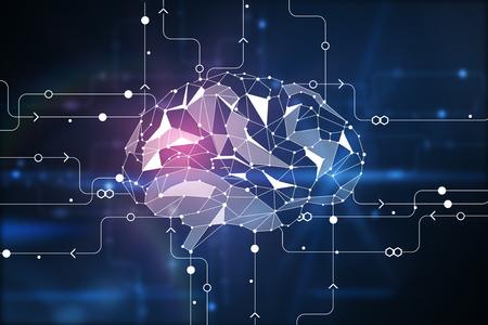 Abstracte digitale veelhoekige hersenen op circuit achtergrond. Kunstmatige intelligentie en innovatieconcept. 3D-weergave Stockfoto - 87926034