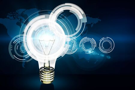 Glowing lamp with business hologram and map. Innovation concept. 3D Rendering Stock Photo