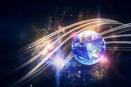 우주 배경에 세계와 크리 에이 티브 디지털 웨이브입니다. 이중 노출. NASA가 제공 한이 이미지의 요소 스톡 콘텐츠