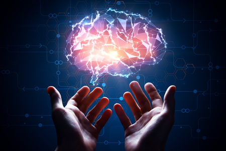 Male hands holding abstract glowing polygonal brain on blue background with digital circuit. Artificial intelligence concept. 3D Rendering
