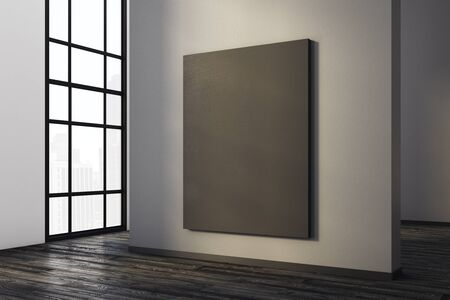 Modern concrete room interior with empty canvas and city view. Gallery, exhibition, advertising concept. Mock up, 3D Rendering