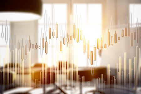 Abstract forex chart on blurry office interior background. Economy concept. Double exposure