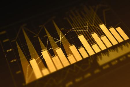 Orange digital business chart background. Finance concept. 3D Rendering