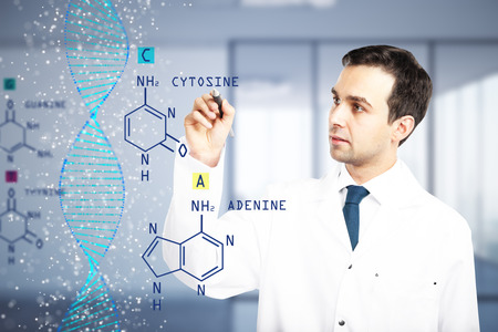 Male doctor writing chemical formulas on blurry office interior background. Hormone concept. Double exposure