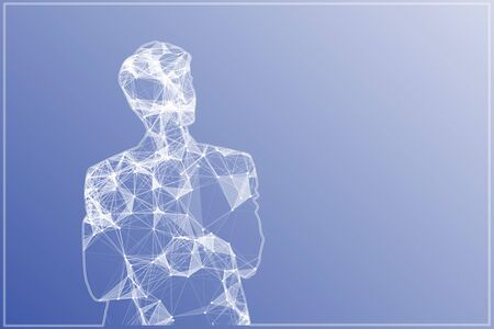 Abstract polygonal man silhouette on blue background. 3D Rendering