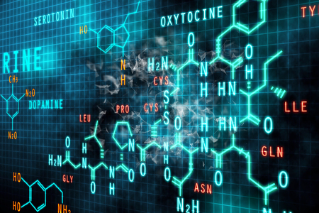 Abstract chemical gridl formula background. Science and education concept. 3D Rendering