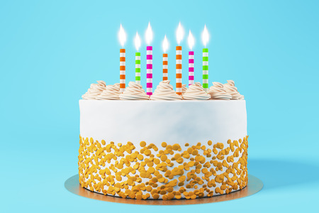 Beautiful birthday cake with candles on blue background. Bakery concept. 3D Rendering