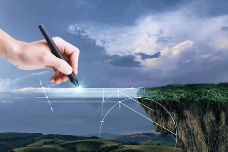Übergeben Sie zeichnende abstrakte digitale Brücke auf Landschaftshintergrund. Fantasie-Konzept Standard-Bild