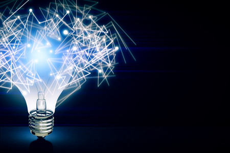 Abstract glowing polygonal lamp on dark background. Technology concept. 3D Rendering
