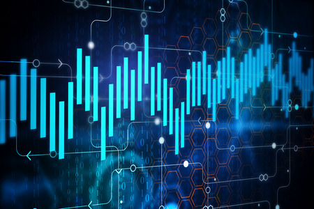 Abstract digital business chart background. Finance concept. 3D Rendering